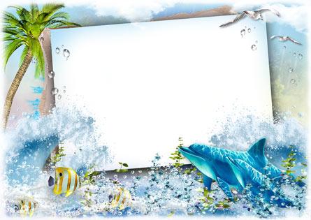 Летняя морская рамка открытка для фотошопа скачать