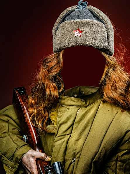 Девушка в военной форме, шаблон к 9 мая скачать бесплатно