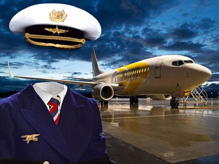 Пилот самолёта, шаблон костюм для фотошопа