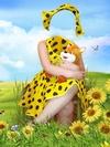 Летний жёлтый костюм в целях девочки, образец пользу кого Photoshop