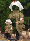 Санитарочка - костюм для девочки - шаблон для Photoshop к Дню Победы